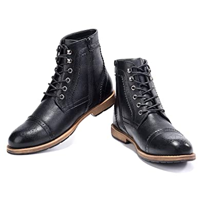 Men s Brogue Boots Ankle Oxford - Dress Boot Lace Up Zip Cap Toe Work  Motorcycle Riding 2876baafc