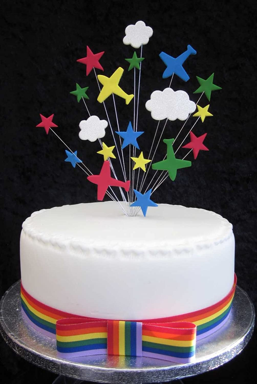 Prime Aeroplane Birthday Cake Topper Multicoloured Suitable For A 20Cm Funny Birthday Cards Online Alyptdamsfinfo