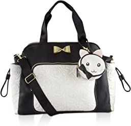 Betsey Johnson 3pc Weekender Multi-Function Diaper Satchel Tote Bag with Changing Mat - Cream