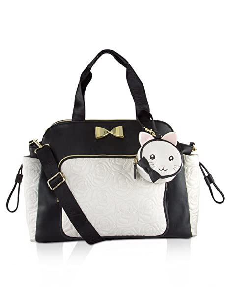 1251b297dfcc Amazon.com : Betsey Johnson 3pc Weekender Multi-Function Diaper Satchel  Tote Bag with Changing Mat - Cream/Black : Baby
