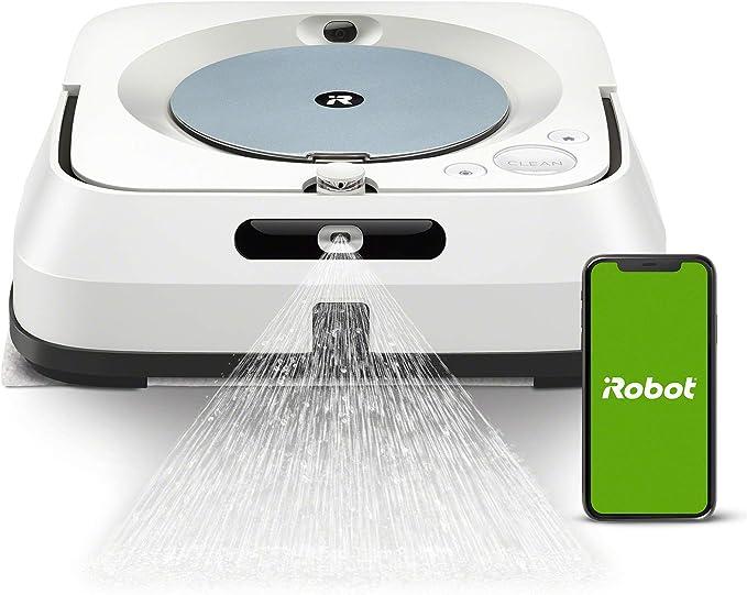 iRobot Braava jet m6132 Robot friegasuelos con wifi, con pulverizador a presión y navegación avanzada, friega y pasa mopa en seco, grandes áreas, recarga y reanuda el trabajo, programable por App: Amazon.es: