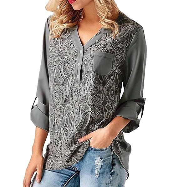 ISSHE Blusa Gasa Cordón Blusas Manga Larga para Dama Camisas de Vestir  Mujer Blusones Camisetas Largas Juveniles Top Cuello EN V Tops Camisa  Elegantes ... 8a9015b09d967