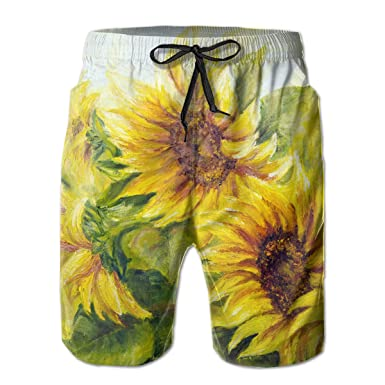 f9f6d130df555 Amazon.com: GoSunny Mens Bright Yellow Sunny Sunflowers Floral Summer Trunk:  Clothing