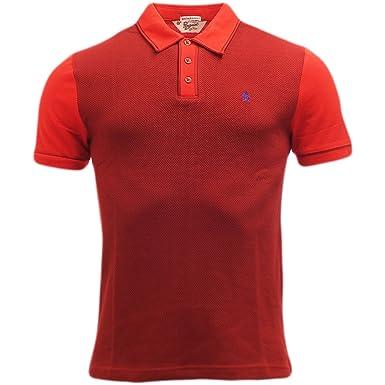 Original Penguin Herren Poloshirt, Einfarbig Rot Biking Red Medium