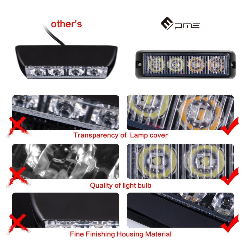 PME 4-LED Waterproof Emergency Beacon Flash Caution RED Strobe Light Bar for Car SUV Pickup Truck Jeep 4 PACK