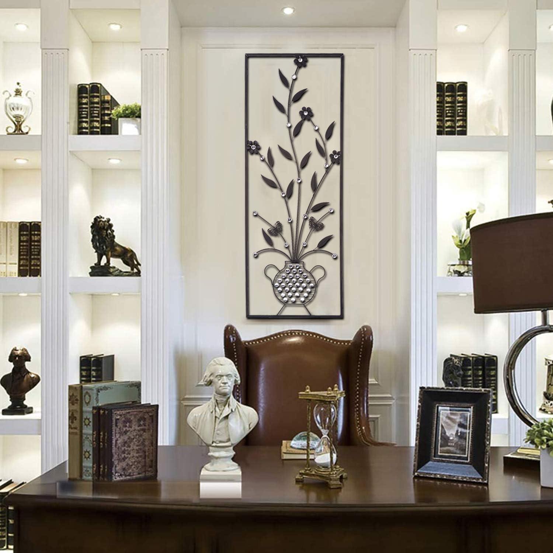 "Black Vase Metal Wall Decor- Large Metal Art Oblong Classic Design,Flower Sculpture Wall Grille Wall Art, Garden Living Room,Bedroom,Dinning Room Home Decoration 37.5""x13.6"""