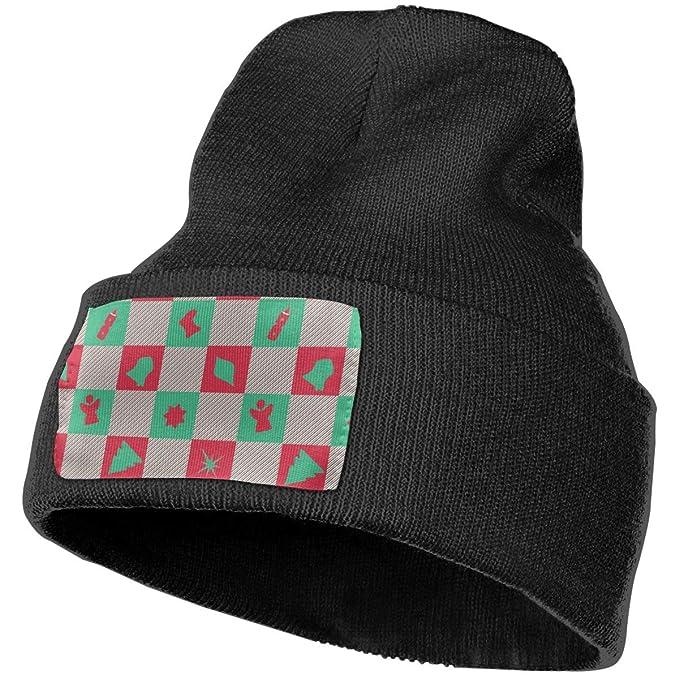 e6348c73bc1 YOOJPC-6 Unisex Christmas Checkers Beanie Skull Caps Knit Hat for Winter  Ski Hat