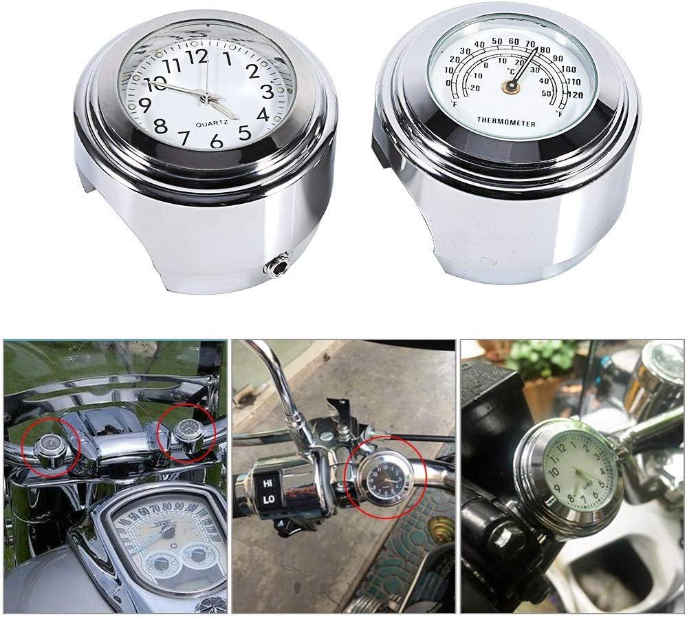 EBTOOLS 7//81 Attacco manubrio moto Quadrante orologio e termometro Temp bianco