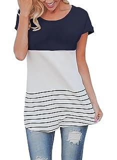 Butterme Las Mujeres de Moda de Manga Corta Suelta Top Casual Rayas Camiseta Blusas de Las