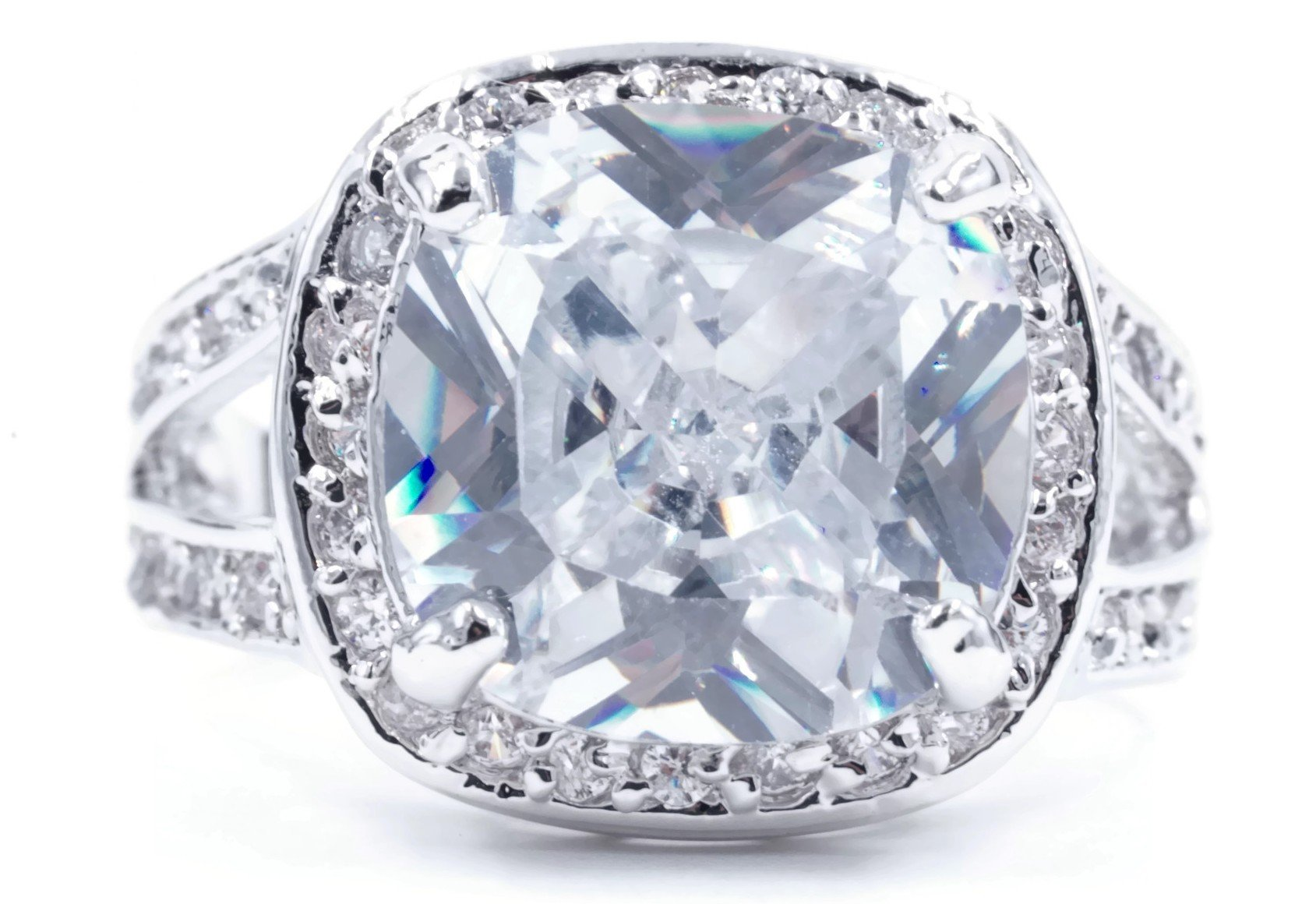Huge Clear Cushion Cut CZ Engagement Style Fashion Ring in Silvertone Size 9 by Glamour Rings