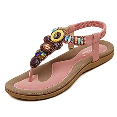 6635dd6b7ed597 Womens Bohemian Beaded Flat Sandal Gladiator Shoes Thong Flip Flops Beach  Shoes (US 7.5