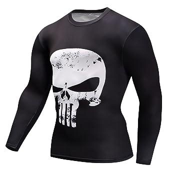8c1652b7d549 Amazon.com: Findci Mens 3D Printing Skull Shirt Short and Long Sleeve  Sports Running Compression Punisher T Shirts: Clothing