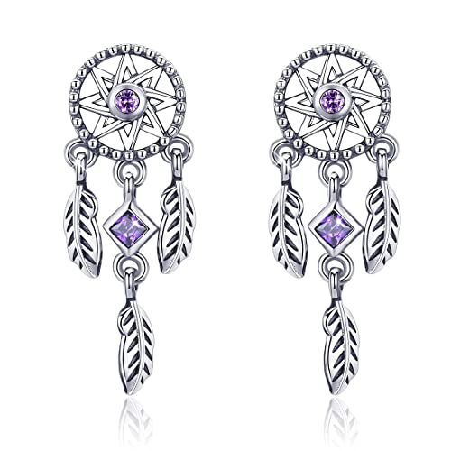 bc7502930 Forever Queen Dreamcatcher Earring, 925 Sterling Silver Feather Pendant  Stud Earring with Purple CZ Gift for Girls Women BJ09127: Amazon.ca: Jewelry