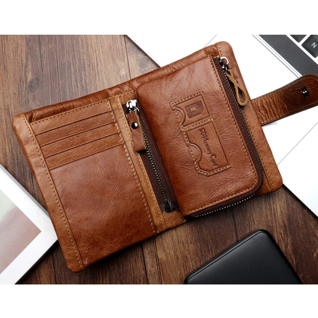Color : Brown CEFULTY Short Wallet Mens Folding Mini Wallet RFID Magnetic Skimming Prevention Large Capacity Multi Function