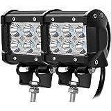 CooAgo LEDワークライト LEDライトバー オフロード 防水作業灯 CREE製18W 6連10-30VDC対応(12V/24V兼用)( 2個セット、1年保証 )