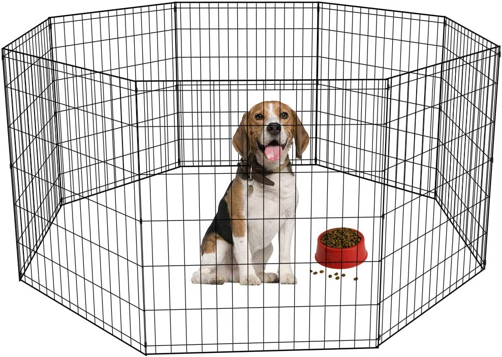 BestPet Puppy Pet Playpen 8 Panel Indoor Outdoor Metal Protable Folding Animal Exercise Dog Fence,24 ,30 ,36 ,42 ,48
