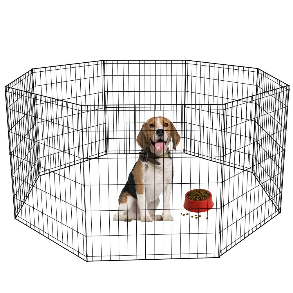 BestPet 30'' Tall Dog Playpen Crate Fence Pet Kennel Play Pen Exercise Cage 8 Panel Black