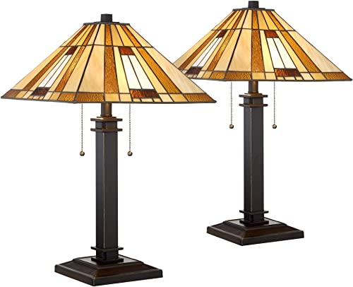 Giselle Mission Table Lamps Set of 2 Bronze Cone Antique Art Glass Shade