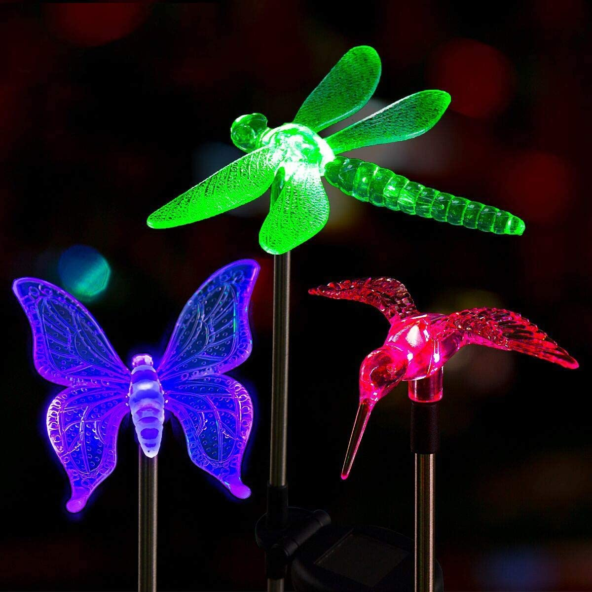 Solpex Solar Garden Stake Lights,3 Pack Bird Decorative Light,Solar Garden Lights,Multi-Color Changing LED Solar Landscape Decorative Lights for Patio,Garden,Pathway,Lawn