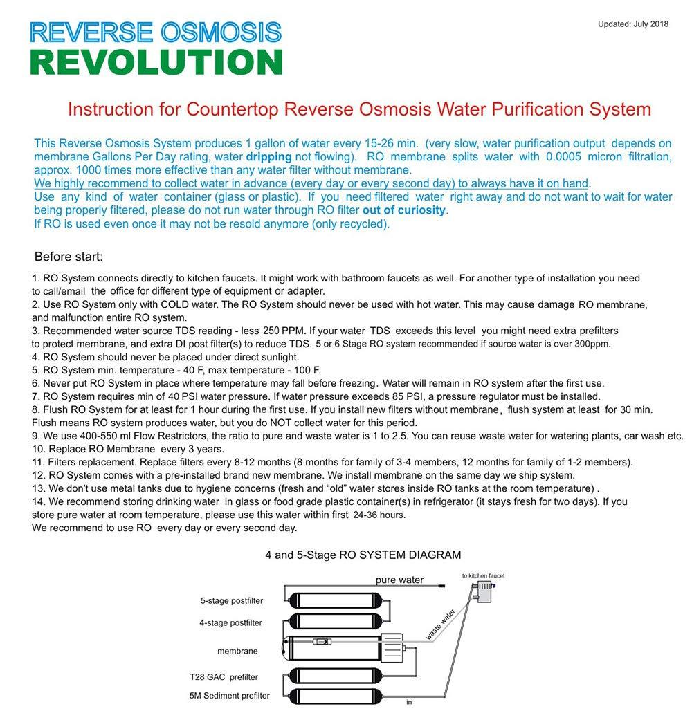 Sistema de agua de purificación en 5 etapas por ósmosis inversa RO para encimeras, portátil, universal, con post-filtro de lecho mixto desionizador (cerca ...