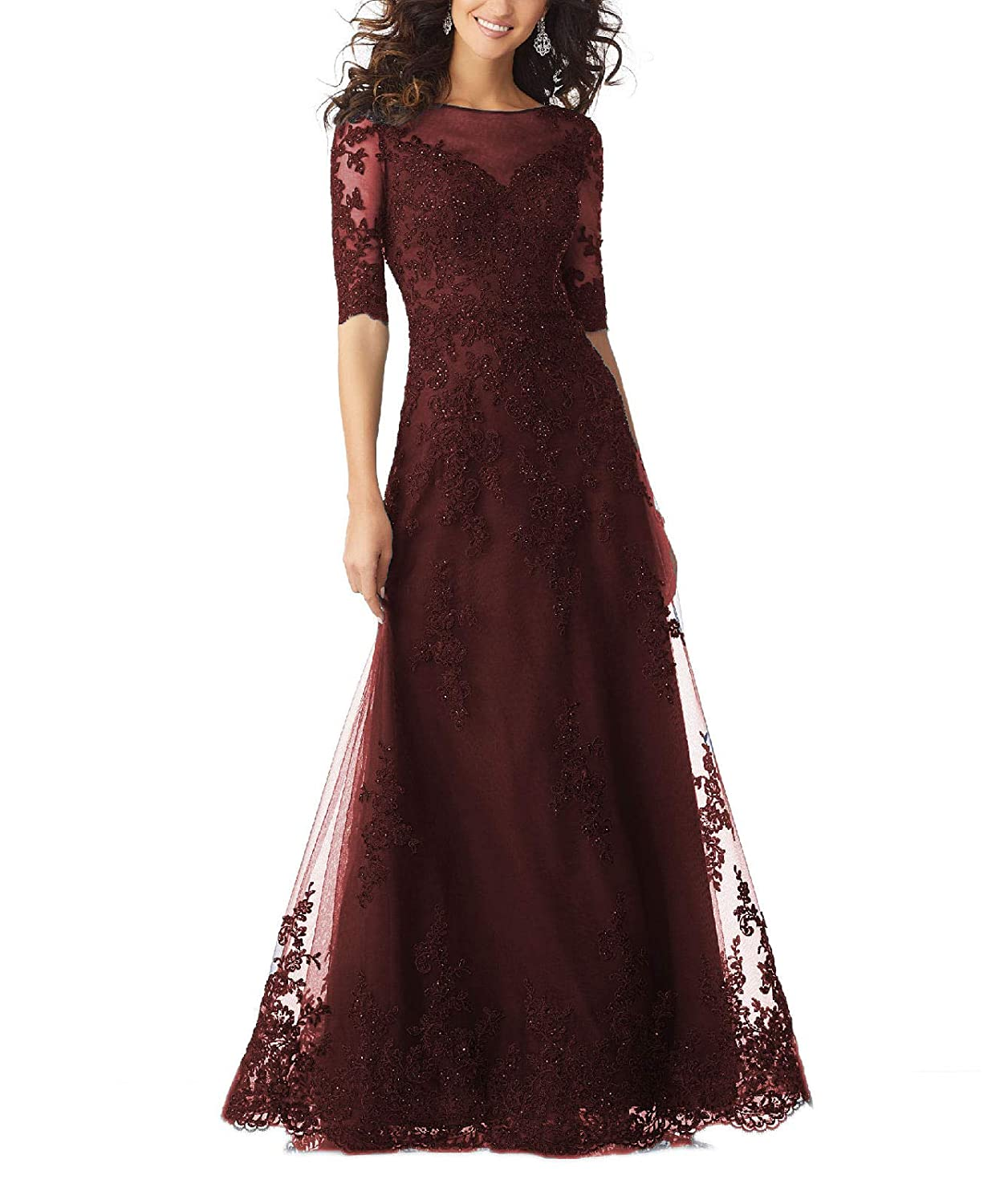 Darkred Yisha Bello Women's V Neck Lace Appliques Mother of The Bride Dress Tulle Beaded Half Sleeve Evening Formal Gowns