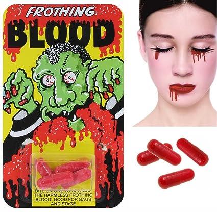 4 capsule di sangue finto - Emulsione del sangue - il trucco vampiro -  Accessori Halloween 2b9386e1cebf
