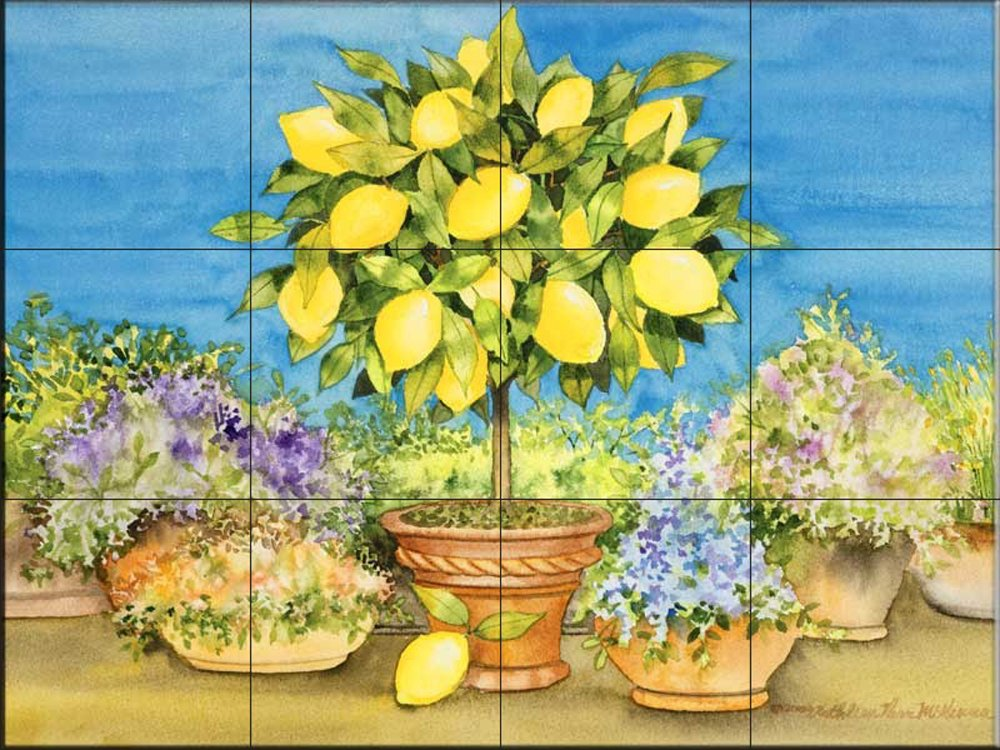 Ceramic Tile Mural - Lemon Tree - by Kathleen Parr McKenna - Kitchen backsplash