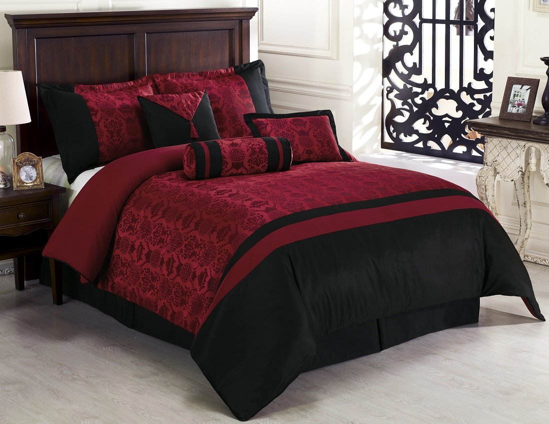 Chezmoi Collection Dynasty Jacquard 7 Piece Comforter Set, Queen, Black/Red