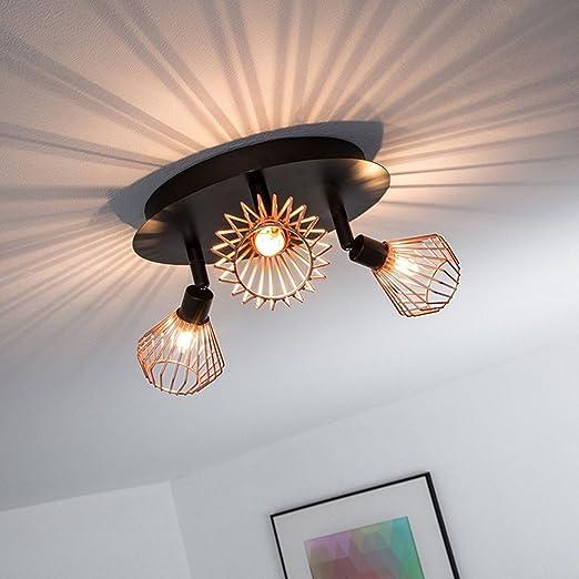 FRIDEKO - Lámpara de techo de cobre con 3 luces, estilo ...