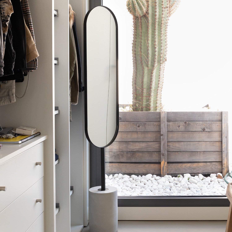 SKLUM Espejo de Pie Ovalado en Metal y Cemento 160x30 cm Elige Color OVA Negro -