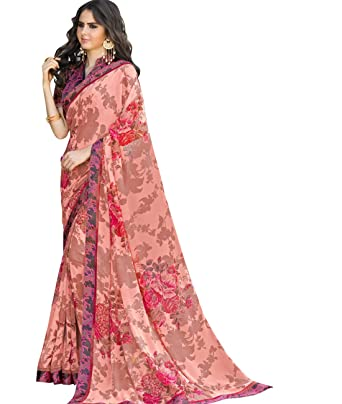 Maahir Garments Indian Ethnicwear Bollywood Faux Georgette Peach coloured Printed Saree