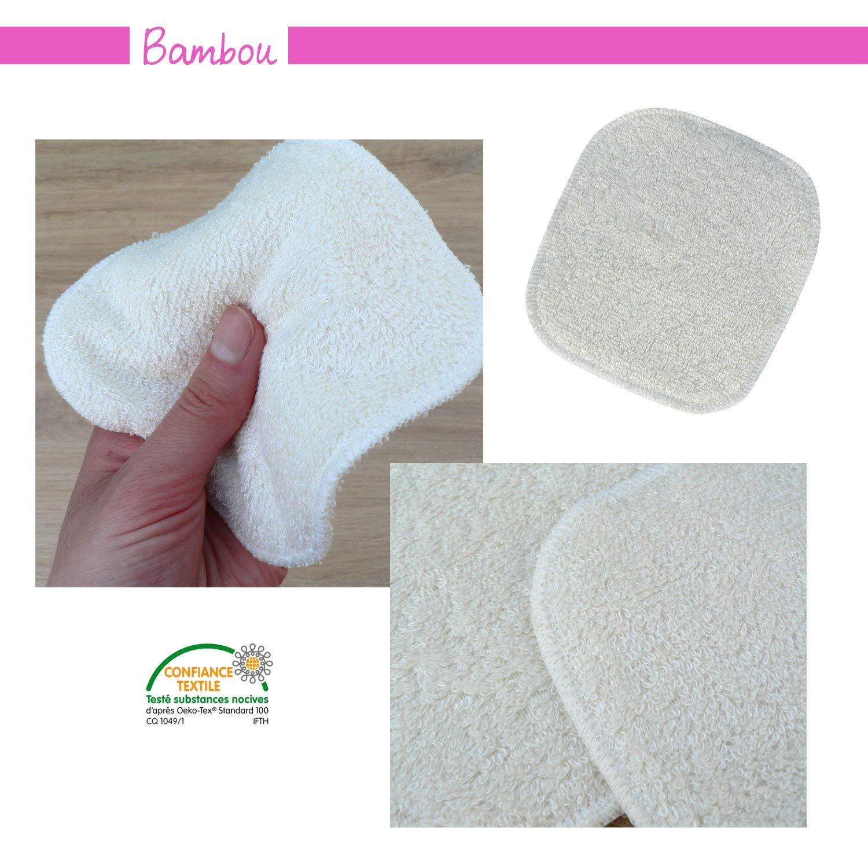 Fabrication Fran/çaise Modulit Bambou Test de 3 carr/és d/émaquillants lavables et /écologiques Coton Bio Bi-mati/ère