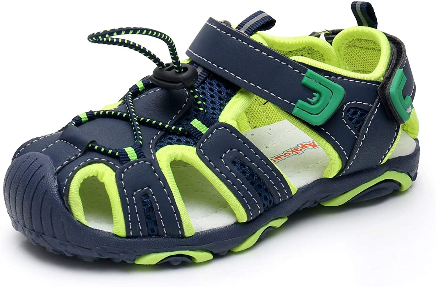 Amazon.com   Apakowa Kids Boys Outdoor Athletic Sport Closed-Toe Sandals  Boys Breathable Mesh Water Sandals Shoes (Toddler/Little Kid) (Color :  Navy/Green, Size : 12 M US Little Kid)   Sandals