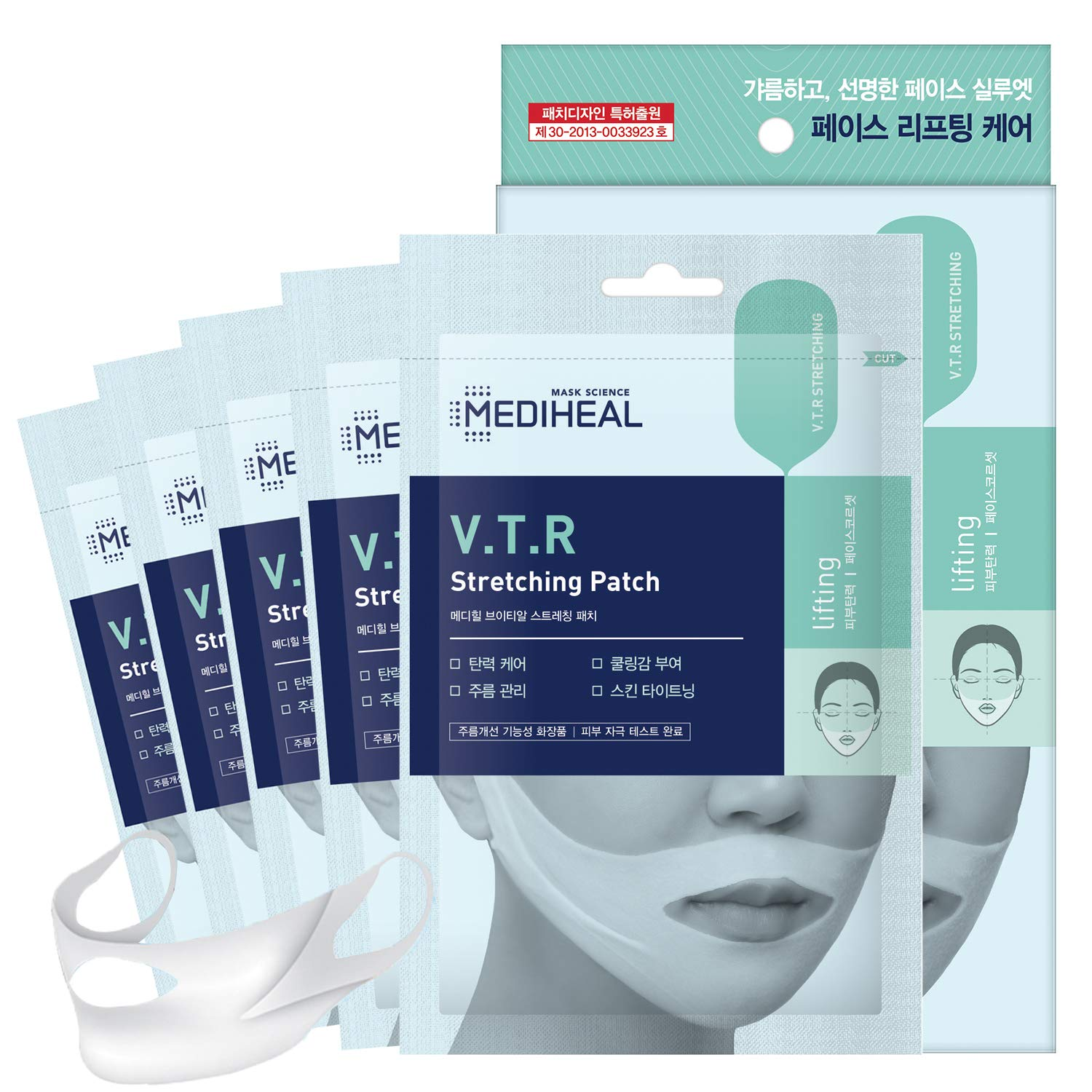 MEDIHEAL V.T.R Stretching Patch 1 pack (4pcs) - High Adhesive Tension Intensive Face Lifting and Tightening Band Mask Sheet, Anti-Aging, Prevents Double Chin for Sagging Skin, Firming and Elasticity