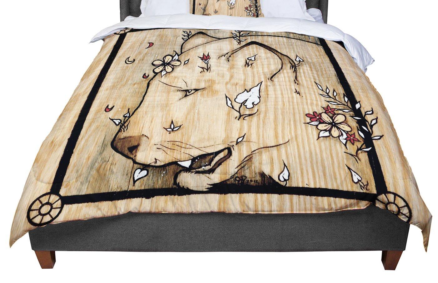88 X 88 KESS InHouse Nastasia Cook All You Need Is Love Pink Brown Queen Comforter