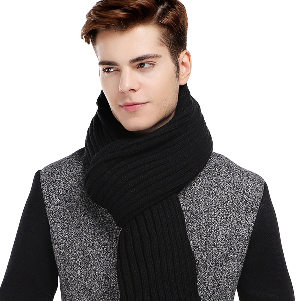 CACUSS Men's Long Thick Cable Cold Winter Warm Scarf Soft Knitted Neckwear(Black)