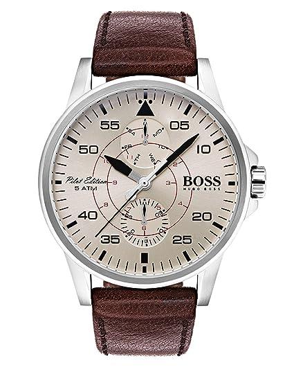 Hugo BOSS Reloj Multiesfera para Hombre de Cuarzo con Correa en Cuero 1513516: Amazon.es: Relojes