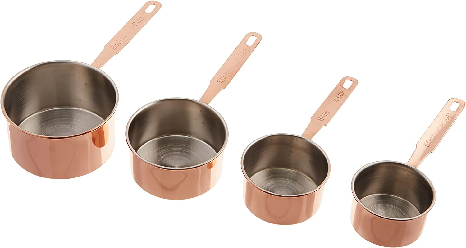 ExcelSteel Professional 4 Piece Stainless Steel Measuring Cups /W Copper Plated Exterior, 1/4, 1/3, 1/2, 1 Cups