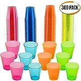 300 Bicchieri per Shot in Plastica Rigida, Colori Neon (30 ml) - Monouso, Resistente, Riutilizzabile, Infrangibile  Shots e Gelatina di Vodka a Feste, Matrimoni, Barbecue, Natale - Riciclabile 100%