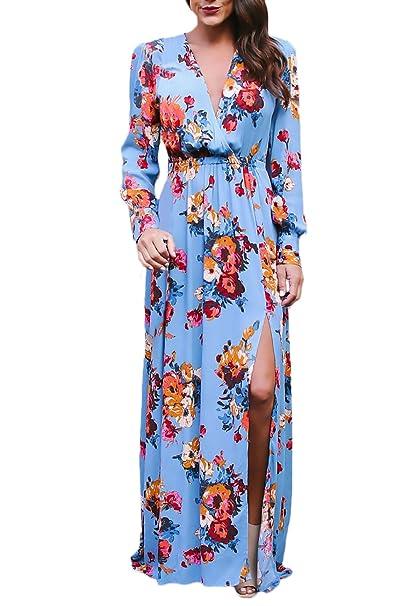 ab75416464f1 Vestiti Donna Primavera Autunnale Lunghi Fiori Stampa Moda Mare Vestito  Manica Lunga V Scollo Spacco Vita Alta Abiti Abito da Giorno  Amazon.it  ...