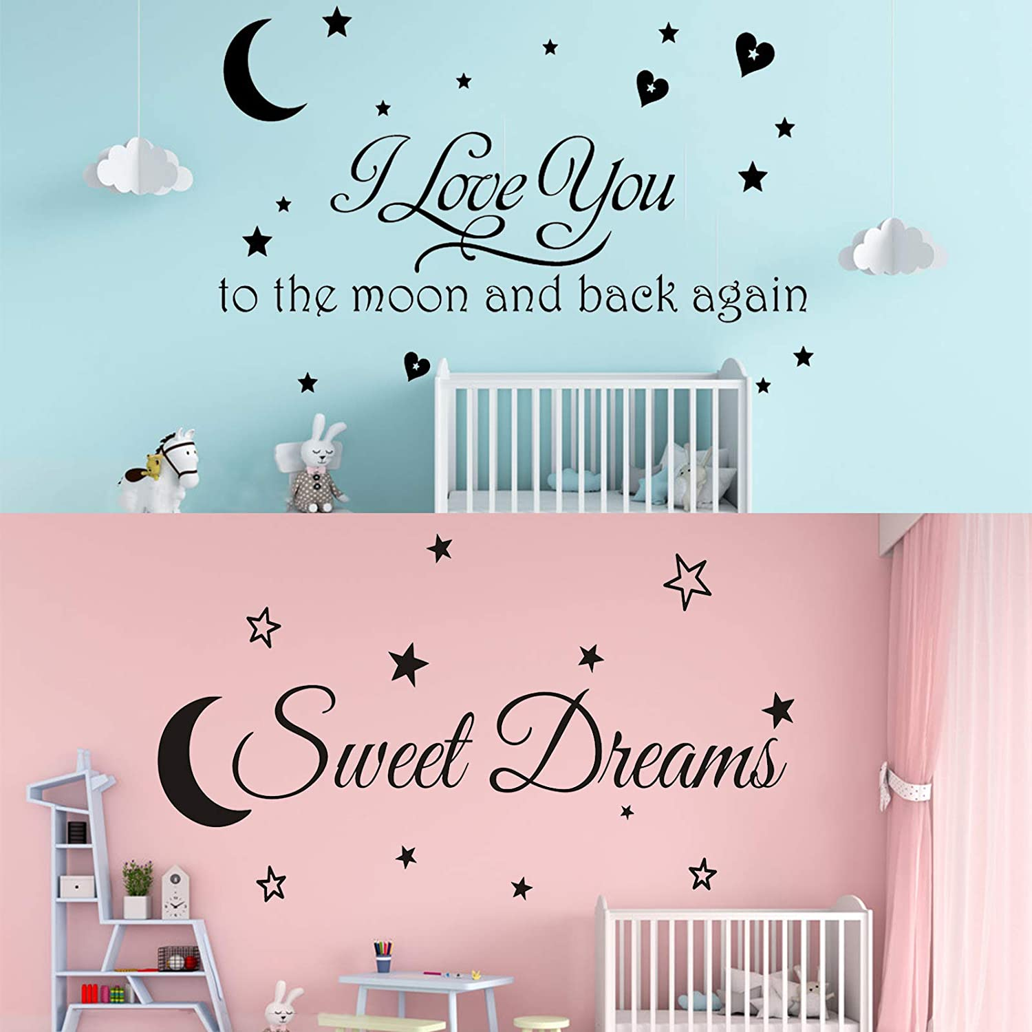 2 Packs I Love You to The Moon and Back Again with Sweet Dreams Wall Stickers Decals, Removable Wall Sign Quotes DIY Wall Art Decor Home Decorations for Kids Boys Girls Bedroom Living Room