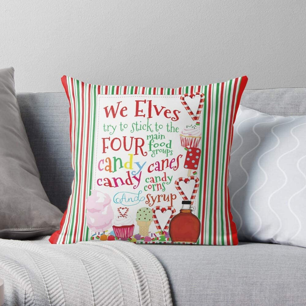 Basic Four Candy Elf Group Food Corn Canes Syrup We Elves I Fsglenlaura-The Most Impressive Printed Square Throw Pillow case for Home and car Sofa Decoration
