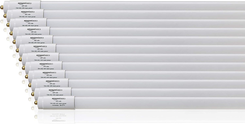 AmazonBasics Commercial Grade LED Tube Light - 4000K, 30W T8/T10/T12 Compatible, Ballast Bypass, Cool White, 8-Foot, 12-Pack