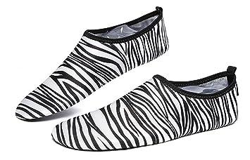 Nueva llegada Cebra Impreso Barefoot piel zapatos playa natación surf calcetines para las mujeres & hombres
