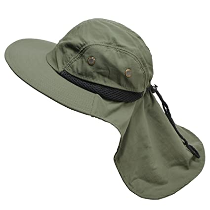 Mens Wide Brim Outdoor Sun Neck Protection Fishing Flap Anti-UV Hat T202  (Army 015fcb3fd6e