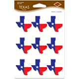 Beistle 54744 Texas Stickers 2 Sheets of Stickers In Package, Red/White/Blue