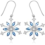 Ornami Sterling Silver with Blue and Clear Crystal Starburst Earring Drops