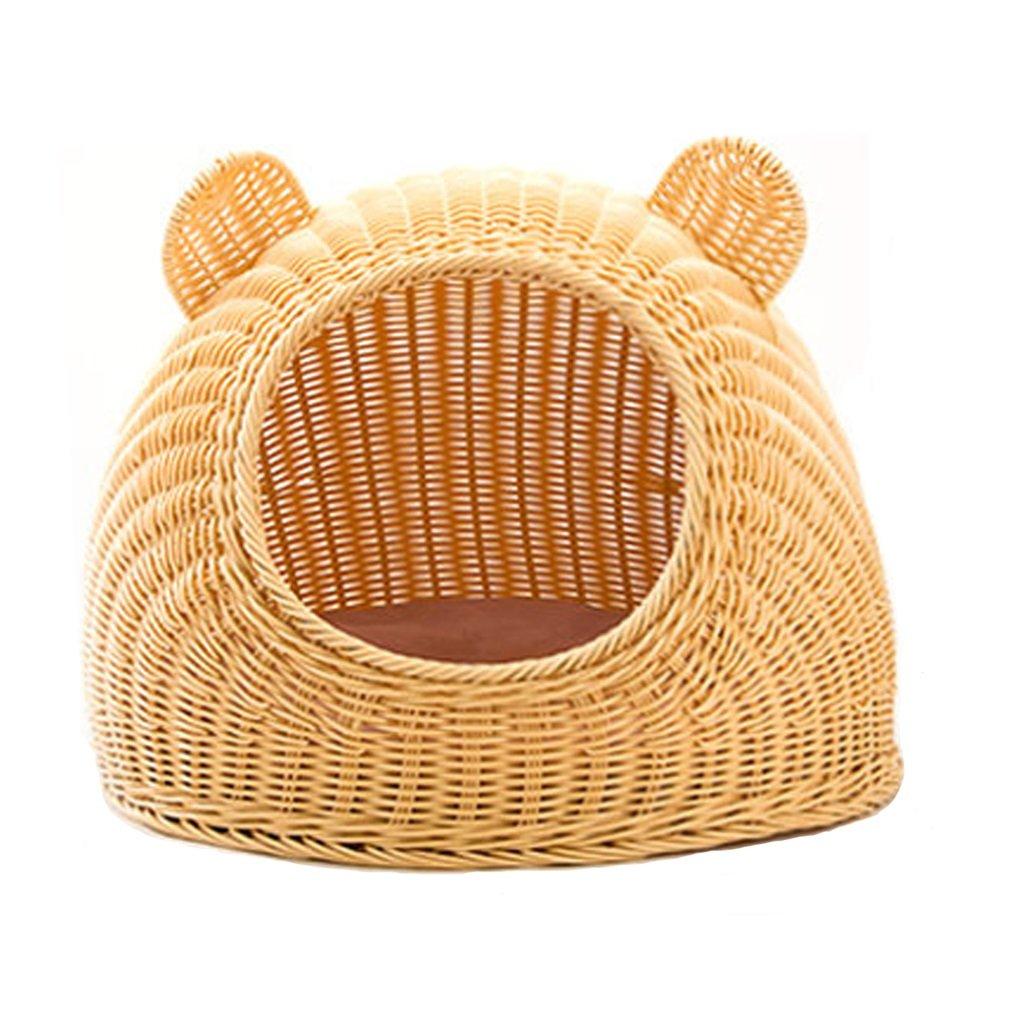 Hay más marcas de productos de alta calidad. Rattan Cat Litter Summer Summer Summer Cat cerrado Cat House Doghouse Pet Cat Cat Cat Cat Sleeping Bag Four Seasons Universal ( Color : Amarillo )  disfruta ahorrando 30-50% de descuento