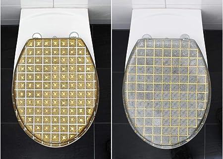 Fantastic Sanwood Toilet Seat Toilet Lid Grid Glitter Silver Amazon Beatyapartments Chair Design Images Beatyapartmentscom