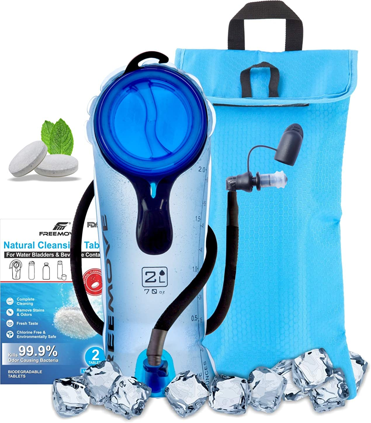 FREEMOVE 2L or 3L Hydration Bladder with a Cooler Bag, Keeps Drink Cool and Protects Bladder or Replacement Bite Valve, Leak Proof Water Reservoir, Tasteless TPU, Quick Release Tube and Shutoff Valve